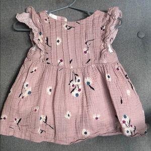 Pink floral little girls dress